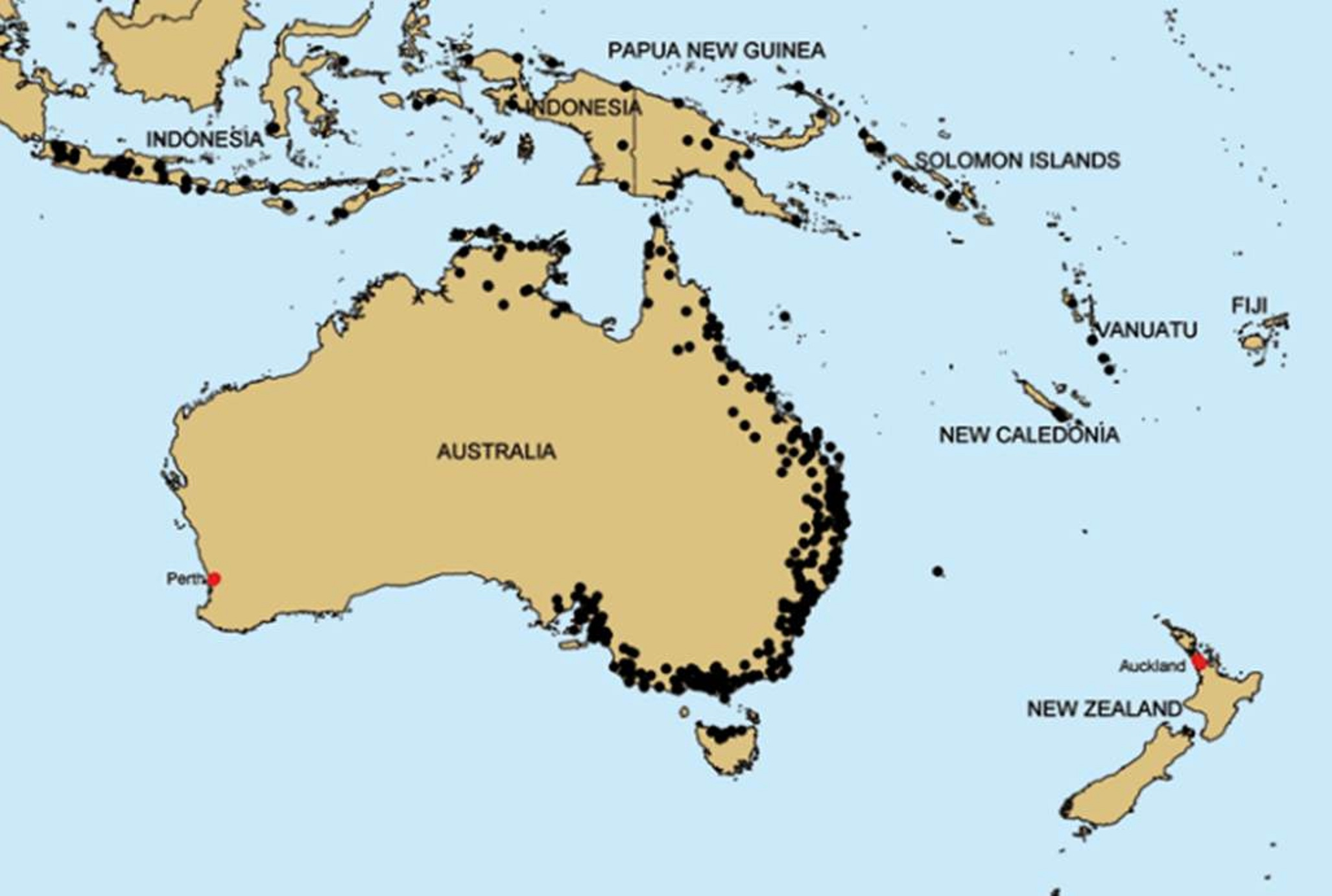 Map of Vanuatu and Australia